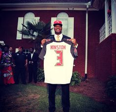 Florida State QB Jameis Winston Drafted To The Tampa Bay Buccaneers As No. 1 Draft Pick, CELEBRATES With Crag Legs