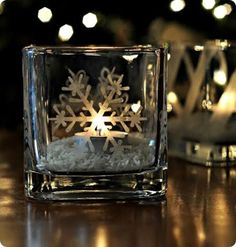Etched Glass Snowflake Candle Holder