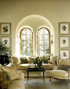 Beautiful living room with golden arched windows recessed in wall arch, gorgeous Beautiful Space, Beautiful Homes, Interior Exterior, Interior Design, Sweet Home, Beautiful Interiors, Decoration, Living Spaces, Living Rooms