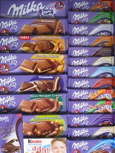 Milka chocolate comes in so many varieties! Although, it is REALLY rich, and after a while I was craving some Hershey chocolate. Milka Chocolate, Dairy Milk Chocolate, Chocolate Brands, I Love Chocolate, Chocolate Lovers, Hershey Chocolate, German Chocolate, Chocolate Cream, Chocolate Desserts