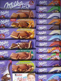 Alle soorten milka chocolade. Je hebt zoveel soorten dus chocolade, liefhebbers koop het gauw van je krijgt geen spijt!