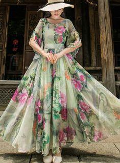 Shop Short Sleeve Floral Print Chiffon Maxi Dress at EZPOPSY. Floral Print Gowns, Floral Chiffon Maxi Dress, Printed Gowns, Print Chiffon, Floral Maxi Dress, Indian Gowns Dresses, Maxi Gowns, Outfits Dress, Dress Indian Style