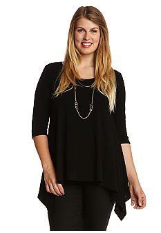 Karen Kane Plus Size Fashion Plus Size Royal Treatment Solid Handkerchief Top   #Karen_Kane #Black #Handkerchief_Top  #Summer #Plus_Size #Fashion #Belk