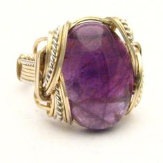 Handmade Wire Wrap Two Tone Sterling Silver/14kt Gold by JandSGems, $281.26