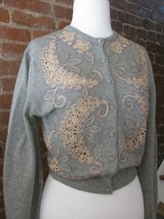 Designer Cashmere Cardigan Sweater by Nannette Cashmeres, 1950s