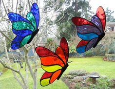 Stained Glass Butterfly Suncatcher  Red Orange by ShatteredbyLight, $25.00