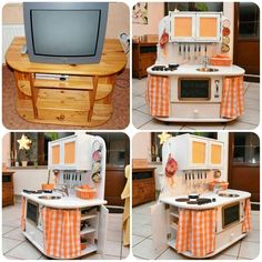 Wonderful Free Play kitchen from an old TV cabinet Popular An Ikea kids' space remains to intrigue the kids, since they are offered a whole lot more than ch Ikea Kids, Ikea Playroom, Diy Kids Furniture, Repurposed Furniture, Furniture Makeover, Furniture Online, Trofast Ikea, Diy Kids Kitchen, Diy Toys