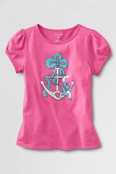 Girls' Short Sleeve Anchor Graphic T-shirt from Lands' End - Perfect for the future DG!!