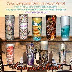 Neu!!! Private Label Dosen mit deinem Wunschdesign, in acht Geschmacksrichtungen. Muster und Infos unter: www.akhofprint.ch #getränkedose #dosendruck #dosen #hochzeitsideen #giveaway #privatlabel #drinks #seccobianco #bier #hugo #energydrink #rotwein #grillparty #apfelspritzer #mineralwasser #party #event #cooldrinks #hingucker #bellini #malwasneues #hochzeit2019 #polterabend #hochzeitseinladung #hochzeitsgeschenke #partytime🎉 #partydrinks #hochzeitsparty #hochzeit #instabride Voss Bottle, Water Bottle, Beverages, Drinks, Arizona Tea, Dose, Beach Party, Drinking Tea, Christmas Cards
