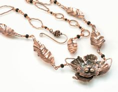 Copper Flowers Necklace - Art Jewelry Magazine - Jewelry Projects and Videos on Metalsmithing, Wirework, Metal Clay