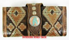 Turquoise Aztec Clutch Wallet with Copper Patina Feather Concho by Running Roan Tack