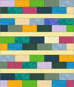 The Linus Connection: Free Pattern: Scrappy Bricks Quilt.   Use novelty prints for some of the bricks.