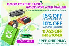 15% Off Compatible Ink, 10% Off All Other Products (Exclude Hardware & OEM Items) Free Shipping on all Contiguous U.S