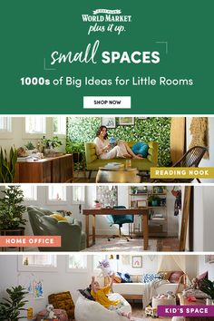 Transforming a small space is easy at Cost Plus World Market! Turn a corner into a functional office by adding a small desk and accessories. Put a loveseat and midcentury modern cabinet in that small extra room and make it a dreamy reading nook / bar combo. Create a playroom that turns into a guest room with the help of a versatile daybed. For more tips and 1000s of small space furniture, lighting and decor pieces, shop Cost Plus World Market! #WorldMarket #HomeDecor #SmallSpaces #PlusItUp