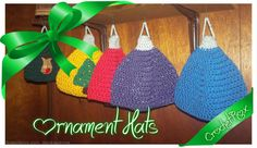 Crocheted Ornament hats for kids and adults by CrochetRox on Etsy