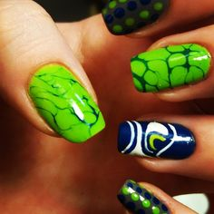 Seahawk Painted Nails images