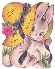 Vintage Greeting Card Easter Cute Die-Cut Bunny Rabbit Wearing Hat Bonnet Gibson