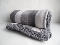 100% merino wool baby blanket - two shades of grey and white on Etsy, £28.00