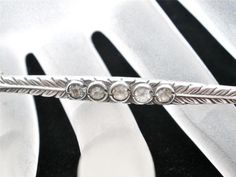 Art Deco Sterling Silver 7 Ct Carat Genuine Diamond Bar Pin Brooch Antique | eBay