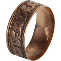pre owned antique victorian 14k rose gold embossed wedding band ring 295 - Preowned Wedding Rings