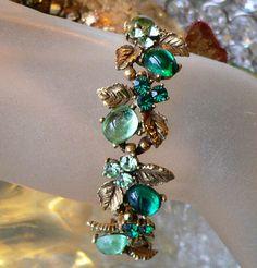 Designer Signed Art Forest  Green Glass Cabochon & Rhinestone Bracelet  | eBay