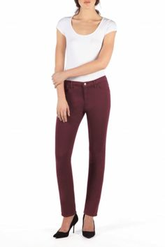 By fusing perfect fit, diagonal stretch, comfort and sexiness into every pair, Yoga Jeans™ denim embraces the natural movement of a woman's body. A sophisticated style, these high rise straight pomegranate, brick red jeans are made to fit and flatter all body types.   Stretch Satin Jeans by Second Yoga Jeans. Clothing - Bottoms - Jeans & Denim - Skinny New Jersey