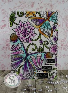 card made with Colorista card blank, stamps & pencils Designed by Donna Mosley Colouring, Adult Coloring, Coloring Books, Scrapbook Paper, Scrapbooking, Blender Pen, Pencil Design, Colorista, Embossing Machine