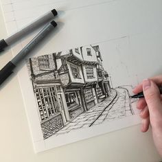 Working on a few commissions today. Mini Drawings, Ink Pen Drawings, Sketchbook Drawings, Drawing Sketches, Drawing Ideas, Pen Illustration, Illustrations, Architecture Sketchbook, Art Projects For Adults