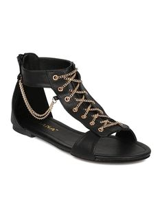 Liliana CF00 Women Leatherette Open Toe Side Chain Lace Up Flat Sandal - Black * Don't get left behind, see this great  product : Lace up sandals