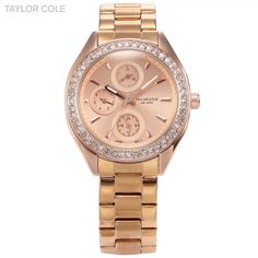 Taylor Cole Auto Date Day Display Rose Gold Full Steel Strap Relojes Women Quartz Casual Clock Lady Crystal Dress Watch / TC009  #red #watch #quartz #apparel #style #pink #sport #clothe #watches #black
