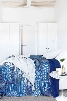 A summer-loving interior designer meets a classic Sydney beach house in need of a new beginning and it's a perfect match! Peaceful Bedroom, Home Bedroom, Bedroom Decor, Master Bedroom, Cobalt Blue Bedrooms, Studio Apartment Design, Georgian Homes, Bedroom Colors, Beautiful Bedrooms