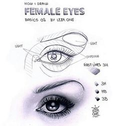 """Useful chart """"how to draw female eyes"""" Eye Drawing Tutorials, Drawing Techniques, Art Tutorials, Realistic Eye Drawing, Drawing Eyes, Name Drawings, Pix Art, Female Eyes, Sketching Tips"""