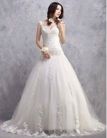 Junoseque spaghetti sweetheart lace appliques swarovski sequins and pearls beaded elongated bodice mermaid court train real sample wedding dresses 2014 TB-326