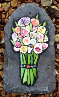 Bunch of china flowers on slate