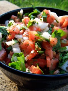 """Tomato Spinach Salsa:  1 large ripe garden tomato diced  1/2 of a sweet onion diced  1 cup baby spinach leaves chopped up  1 tsp dried cilantro  2 tsp lime juice  1 tsp tabasco  1 tsp green chili sauce  4-5 sliced jarred jalapenos  1 tsp of the jalapeno """"juice"""""""