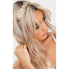 Gold Metal Leaf Detail Headband (36 PEN) ❤ liked on Polyvore featuring accessories, hair accessories, yellow, leaf headband, yellow headband, leaves headband, head wrap headbands and headband hair accessories