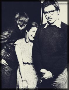 Harrison Ford, Carrie Fisher, Mark Hamill.  Drool Harrison...swoon..sweater...glasses