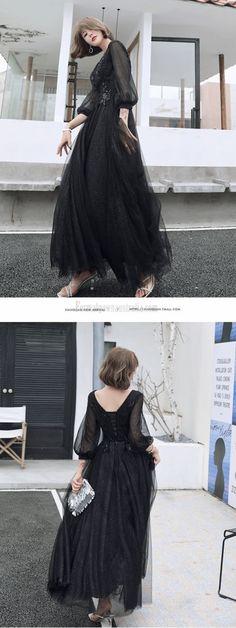 black long sleeve formal dress #blackformaldress A Line Evening Dress, Evening Dresses, Prom Dresses, Formal Dresses, Tulle, Lace Up, Floor, V Neck, Long Sleeve