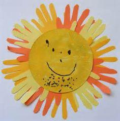 SUMMER CRAFT ,-- handprint sun flower.