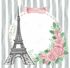 Illustration of Paris vintage card.Eiffel tower,Watercolor rose,grey strips vector art, clipart and stock vectors. Paris Cards, Paris Themed Birthday Party, Deco Rose, Watercolor Rose, Vintage Cards, Clipart, Shabby, Drawings, Illustration