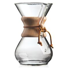 Known as a pristine coffeemaker, Chemex employs all of the chemically correct methods for brewing. Its hourglass shaped flask is made entirely of glass, a chemically inert material that does not absor