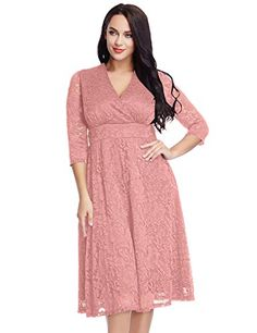 Special Offer: $39.99 amazon.com Item Specifics: If your body has curves, add feminine presence and show off your curves with this sheer sleeves lace dress. This dress has a fitted bodycon top with a surplice v-neck below the bust, giving a high-waisted empire appearance. Together with a...
