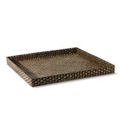 Oversized Woven Tray, Square, Dark Honey