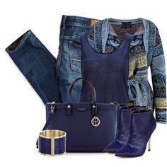 Look casual in sfumature di blu - Il blu è uno dei colori più amati dalle fashion victim, ecco un look semplice in cui abbinare accessori in diverse sfumature. Il blu elettrico e il blu cobalto sono da sempre molto popolari nella stagione fredda, ecco quindi come abbinare queste due sfumature associando jeans chiari a blusa, cardigan e accessori in tinta. Vi piace questo look?