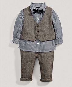 Boys Welcome to the World Four Piece Tweed Waistcoat Set - Welcome To The World - Mamas & Papas omg I'm buying this.