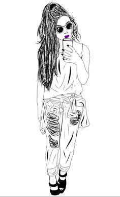 Selfie, Outlines, Anime, Art, Art Background, Kunst, Cartoon Movies, Anime Music, Performing Arts