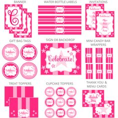 Free Pink Star Party Printables + extras! – Free Party Printables at Printabelle