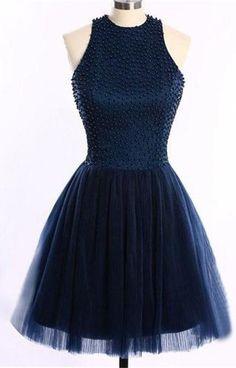 Navy Blue O-Back Short Prom Dresses Homecoming Dress,Sleeveless prom dress,