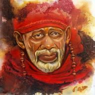 Incredible Sai - Handpainted Art Painting - 43in X 43in (Stretcher Framed)