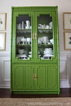 Faux Bamboo China Cabinet – Available for Custom Lacquer – 2019 - Furniture ideas Green Painted Furniture, Bamboo Furniture, Design Furniture, Paint Furniture, Cheap Furniture, Modern Furniture, Furniture Movers, Furniture Stores, Office Furniture